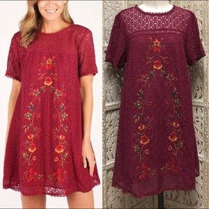 Umgee Victorian Embroidered Mini Dress